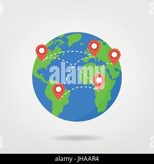 pin points on world map / travel concept illustration. location marker on globe, vector graphic. - Stock Photo