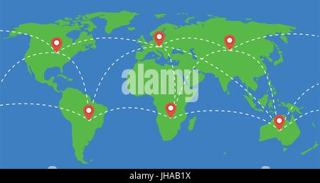 places marked with location marks on world map illustration. travel around the world concept. - Stock Photo