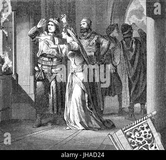 Louis II the Younger, 825 – 875, King of Italy and Holy Roman Emperor, attacked by Adelchis, prince of Benevento, - Stock Photo