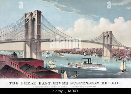 BROOKLYN BRIDGE over the East River in 1883. Print by Currier & Ives - Stock Photo