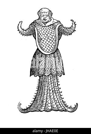 Marine sea monk monster resembling a jellyfish, medieval engraving, year 1598 - Stock Photo