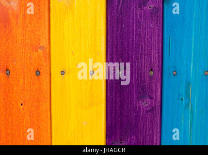 Colored wooden planks, fence - Stock Photo