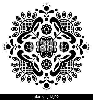Norwegian black folk art Bunad pattern - Rosemaling style embroidery - Stock Photo
