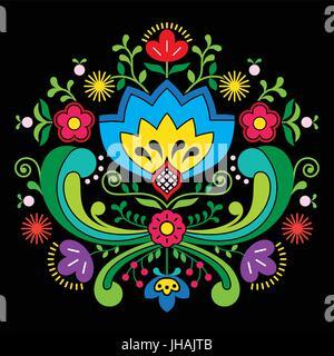 Norwegian folk art Bunad pattern - Rosemaling style embroidery on black - Stock Photo