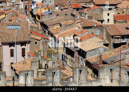 Elevated view of roofs in Narbone old town, France. - Stock Photo