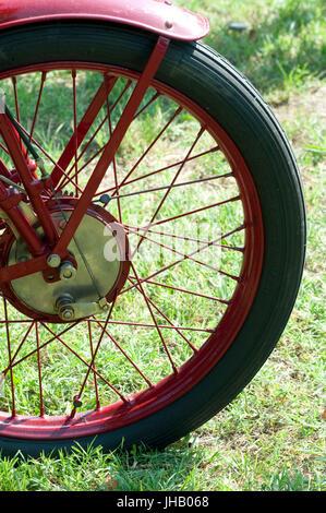 1928 Moto Guzzi TT 250 Classic Motorcycle,  Detail Wheel - Stock Photo