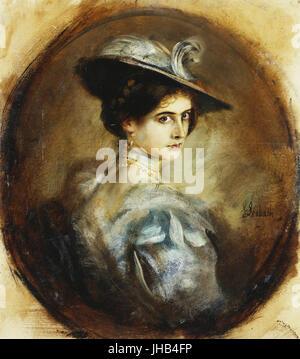 Franz von Lenbach - Portrait of a Lady - Stock Photo