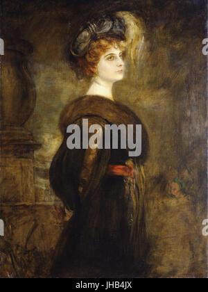 Franz von Lenbach - Portrait of a Lady, standing three-quarter length - Stock Photo