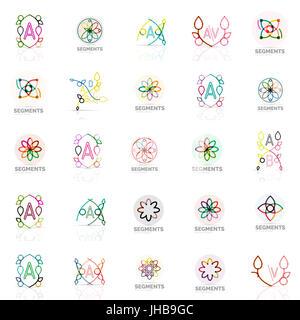 Set of vector linear logotypes, geometric abstract symbols, elegant icons. Modern minimalist elements for branding - Stock Photo