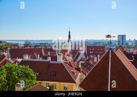 Panorama of the city of Tallinn in a summer sunny day - Stock Photo