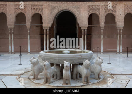 Fountain of the Lions (Fuente de los Leones) in the Patio of the Lions (Patio de los Leones) in the Palace of the - Stock Photo