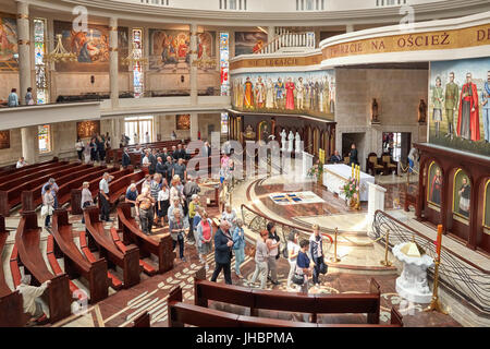 Torun, Poland - July 08, 2017: Interior of newly built Shrine of Our Lady the Star of New Evangelization and St. - Stock Photo