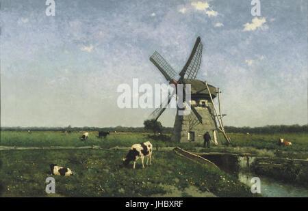 Johannes Hendrik Weissenbruch - Landscape with Windmill near Schiedam - - Stock Photo