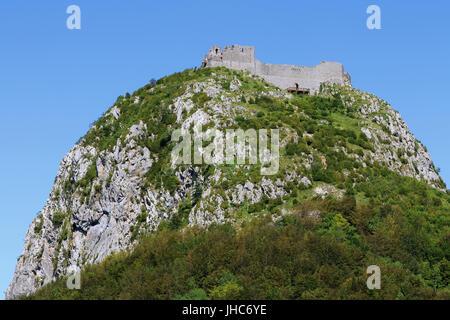 Fort Montsegur, Alt. 1059 m, France. - Stock Photo