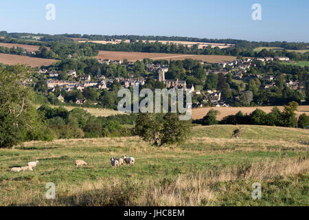 View over Cotswold village of Blockley, Blockley, Cotswolds, Gloucestershire, England, United Kingdom, Europe - Stock Photo