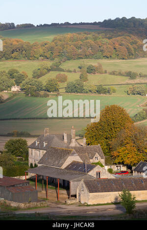 View over Wadfield farm and Cotswold farmland in autumn, Winchcombe, Cotswolds, Gloucestershire, England, United - Stock Photo