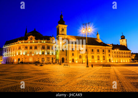 Sibiu, Romania.Large Square (Piata Mare) with the City Hall and the Cathedral in Transylvania. - Stock Photo