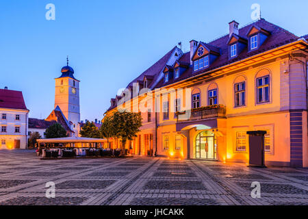 Sibiu,Romania.Council Tower in the Large Square of Sibiu. - Stock Photo