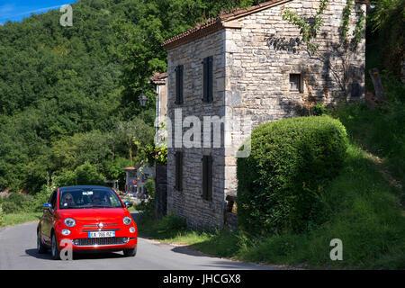 Main road in Saint Cirq Lapopie, Midi Pyrénées, Lot, France. - Stock Photo