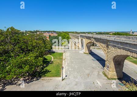 Saint Clément Aqueduct in Montpellier Languedoc-Roussillon, Fance. - Stock Photo