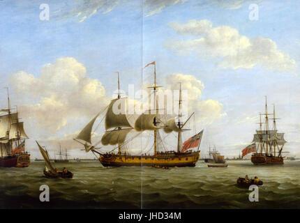 HMS Maria Anna-Earl of Chatham- Achilles-Thomas Luny