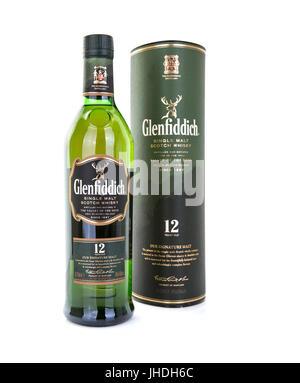SWINDON, UK - JULY 13, 2017: Bottle of Glenfiddich single malt scotch whisky on a white background - Stock Photo