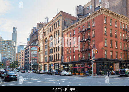 Tribeca district empty streets in a sunny summer day in New York - Stock Photo