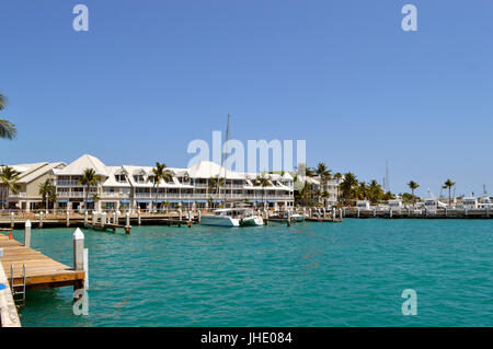 Key West Florida Keys Florida USA - May 15 2017 : Yacht moored up in Key West Marina - Stock Photo
