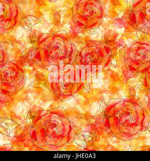 A fall seamless pattern with an abstract watercolor and ink drawing of a blooming red rose, hand painted on a background - Stock Photo