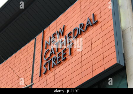New Cathedral Street Sign in Manchester City Centre, April 2017 - Stock Photo