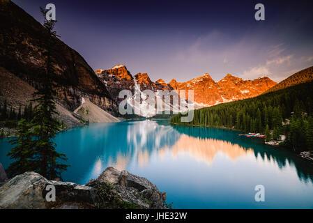 Moraine Lake at sunrise, Banff, Canada - Stock Photo