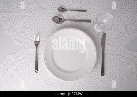 Empty plate, table, Belém, Pará, Brazil - Stock Photo