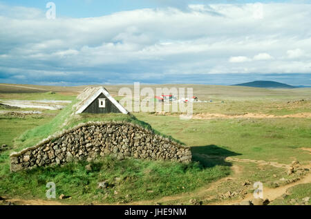 Traditional viking house with grass covered roof, Iceland - Stock Photo