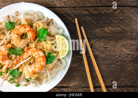 Shrimp Pad Thai closeup from above with copy space - Stock Photo