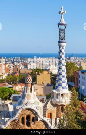 Barcelona Catalunya Park Guell barcelona parc guell barcelona porters lodge casa del guarda Barcelona skyline spain - Stock Photo