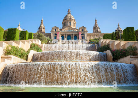 Barcelona Catalunya spain Barcelona city Palau Nacional National Art Museum of Catalonia Placa de les Cascades Water - Stock Photo