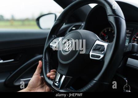 Bamberg, Germany: Circa November 2015 - Steering wheel of a VW Scirocco - Stock Photo