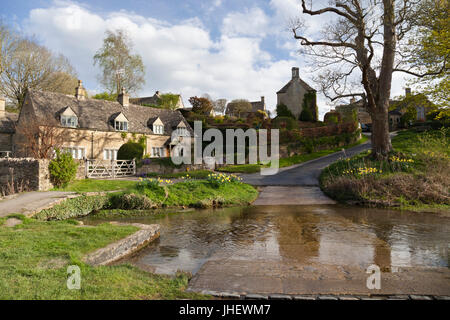 Cotswold village of Upper Slaughter and the River Eye, Upper Slaughter, Cotswolds, Gloucestershire, England, United - Stock Photo