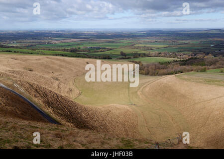 The Manger from Uffington Castle and Oxfordshire countryside, near Wantage, Oxfordshire, England, United Kingdom, - Stock Photo