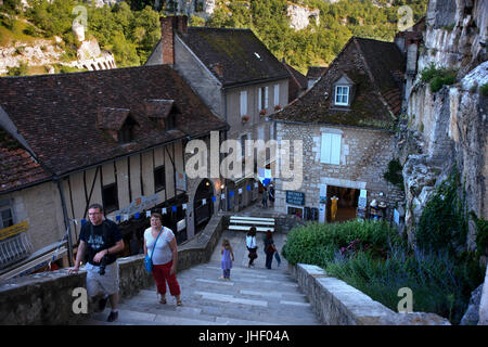 Medieval town of Rocamadour, Lot Department, Midi-Pyrenees, France - Stock Photo