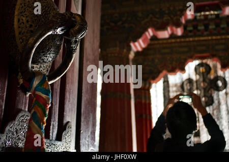 Inside Potala Palace former chief residence of the Dalai Lama, UNESCO World Heritage Site, Lhasa, Tibet, China - Stock Photo