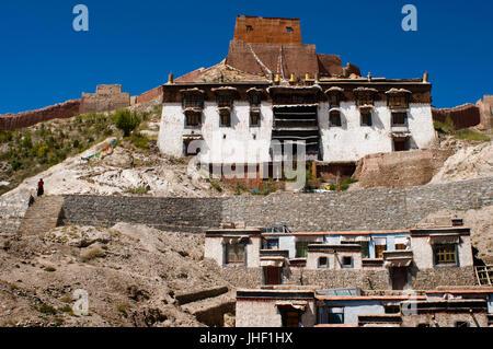 Houses of the Tibetan monks of the monastery of Pelkhor Chode, Gyantse, Tibet, China, Asia - Stock Photo
