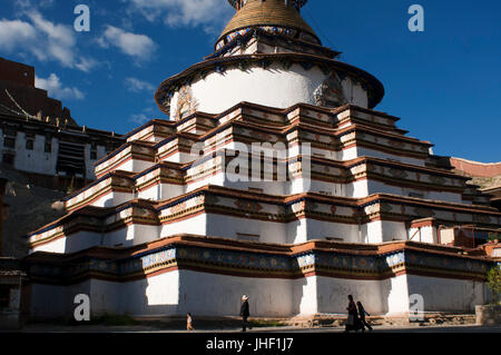 Kumbum stupa in the monastery Paelkhor, Pelkhor Chode, Gyangze, Tibet, China, Asia - Stock Photo