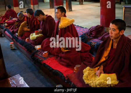 Monks praying inside the monastery of Pelkhor Chode, Gyantse, Tibet, China, Asia - Stock Photo