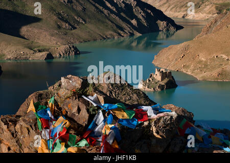 Simi La lake holy place, Simi-la pass, Shigatse Prefecture, Tibet, China - Stock Photo
