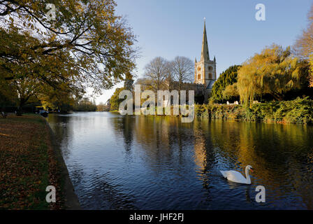 Holy Trinity Church where William Shakespeare is buried on the River Avon, Stratford-upon-Avon, Warwickshire, England, - Stock Photo