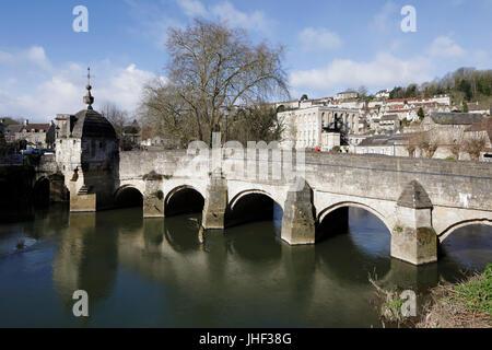 Town Bridge and lock-up over the River Avon, Bradford-on-Avon, Wiltshire, England, United Kingdom, Europe - Stock Photo