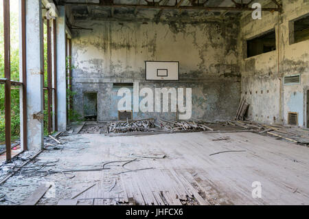 An abandoned gym in Chernobyl after the nuclear catastrophe - Stock Photo