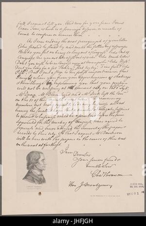 Thomson, Charles. Philadelphia. To J. Montgomery (NYPL b11868620-5338853) - Stock Photo