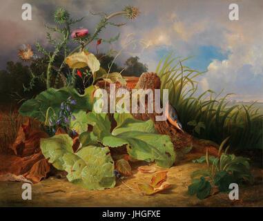 Joseph Schuster Stillleben mit Stillleben mit Disteln Glockenblumen Hagebutten und einem Kleiber - Stock Photo